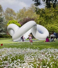 An inflatable pavilion covered with a clear tensile membrane