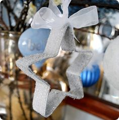 DIY glitter cookie cutter ornament.  Love it!  This blog also has some other cute ornament ideas.
