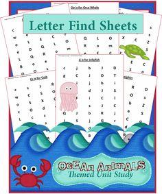 Letter Find Sheets Ocean Animals Unit Study: Find a Letter Worksheets