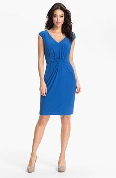 Adrianna Papell Twist Front Matte Sheath Dress