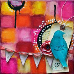 "Donna Downey - original ""make art everyday"", mixed media on canvas..."