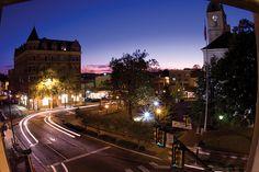 Downtown Harrisonburg at night, photo by Jon Styer, Eastern Mennonite University.