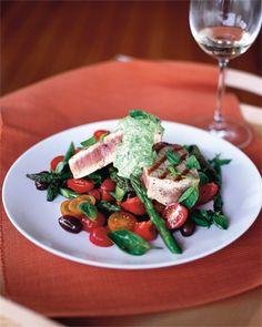 hot tuna salad with basil creme fraiche