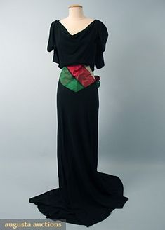 Black Crepe Evening Gown, 1940s, Augusta Auctions, October 2006 Vintage Clothing & Textile Auction, Lot 907 evening gowns, black crepe