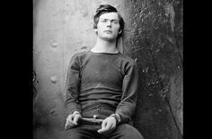 Conspirator Lewis Powell (Payne), in a sweater, seated and manacled in the Washington Navy Yard, Washington D.C. in April of 1865. Powell attempted unsuccessfully to assassinate United States Secretary of State William H. Seward in his home on April 14, 1865. he was soon caught, and became one of four people hanged for the Lincoln assassination conspiracy. (Alexander Gardner/LOC)