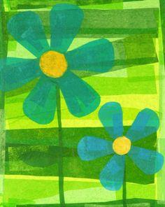 paper craft, blue flowers, tissu paper, collage art, tissue paper flowers