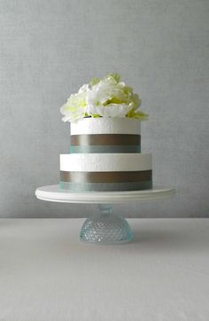 Aquamarine and neutral wedding cake