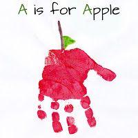 handprint art, hand prints, alphabet books, hand print crafts, apple crafts, abc handprint, preschool, kids play rooms, alphabet art