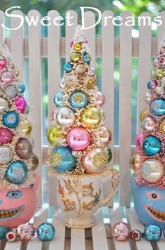 Pink Christmas Inspiration Board by Bella Bella Studios~Christmas trees in a tea cup by Ruin Bibber! click on photo to go to Etsy shop. #tree Christmas #bulbs