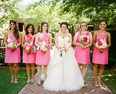 bridesmaids in bright pink - so cute! | 509 Photo