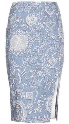 Cheri Printed Stretch-cotton Pencil Skirt