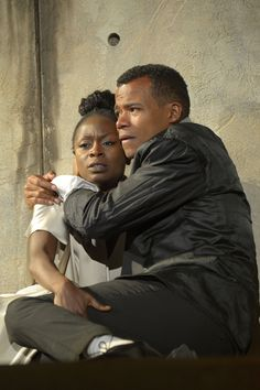 Zainab Jah as Ophelia and LeRoy McClain as Hamlet in California Shakespeare Theater's production of HAMLET (2012), directed by Liesl Tommy; photo by Kevin Berne.