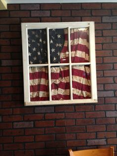 LOVE LOVE LOVE!!!! Old window with flag. Awesome for Steven's flag from overseas diy flag, decorate with flags, flag box, window shutters projects, project idea, flag window, diy old window projects, decorating old windows, projects with old windows