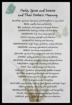 Herb/Spices and their meaning.   Sage: Prosperity, cleansing and good health.