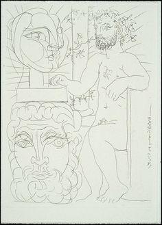 Pablo Picasso  - Sculptor and Two Sculpted Heads Sculpteur et deux têtes sculptées March 26, 1933