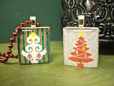 Colorful Christmas Trees! - Scrabble Tile Pendants by Mango and Lime Design
