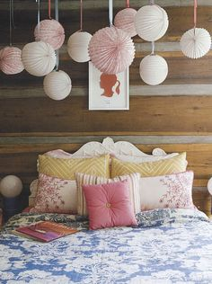 Love the hanging paper lanterns! Wouldn't it be cool if they lit up too? girl bedroom, little girls, pillow, beds, color, paper, bedrooms, little girl rooms, lanterns
