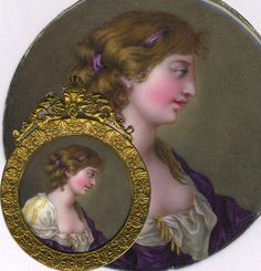 "Antique Kiln-fired Enamel Miniature Portrait, 'Naughty"", and in Fine French Frame, c.1820-40"