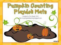 free pumpkin play dough mats math, count playdoh, classroom, idea, pumpkin count, playdoh mat, fall, pumpkins, mats