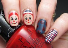 The Digit-al Dozen DOES Vintage, Day 3: Raggedy Ann and Andy Nail Art! - Adventures In Acetone