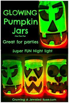 glowing pumpkin jars Halloween fun