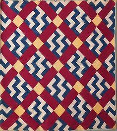 Antique Quilt Handmade Zig Zag Block Primitive Nice Graphic and Condition Cotton | eBay