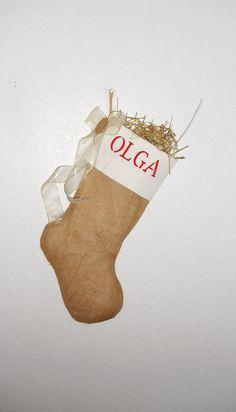 Personalized Christmas Burlap Stocking