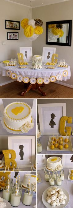 Yellow and white baby gender reveal party