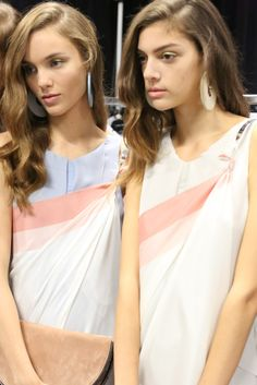 Backstage at Emporio Armani RTW Spring 2013