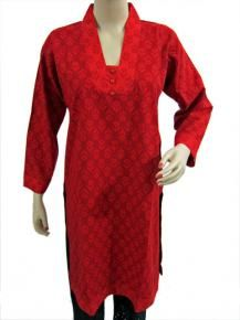 Red Printed Kurta Designer Cotton Tunics Indian Kurtis $29.00