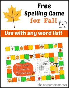Free spelling game for Fall-- pull this out in the classroom or at home to practice those weekly words.  Use with any word list!