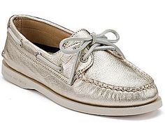Authentic Original Metallic 2-Eye Boat Shoe, Platinum Gold. Slightly obsessed.