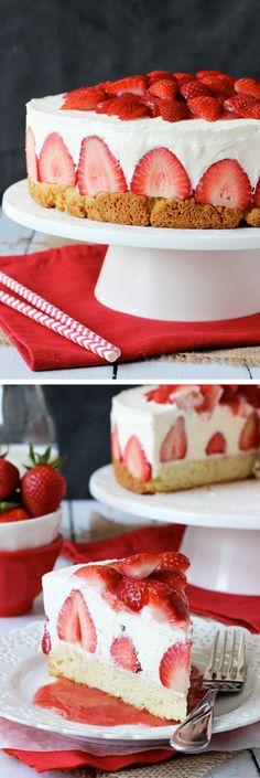 Strawberry Shortcake Cheesecake - shortcake, strawberries, no bake vanilla cheesecake and whipped cream! @Steve Benson Sullivan Driscoll's Berries #StrawShortcake