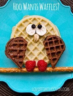 Waffles made to look like owls