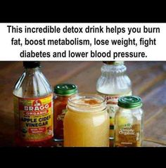 Secret Recipe Detox Drink   This incredible detox drink helps you burn fat, boost metabolism, lose weight, fight diabetes and lower blood pressure.   Ingredients 1 glass of water (12-16 oz.) 2 Tbsp. Apple Cider Vinegar 2 Tbsp. lemon juice 1 tsp. cinnamon 1 dash cayenne pepper (optional) 1 packet White Stevia Powder (Optional)  Directions: Blend all ingredients together Drink right before a meal, or 3 x daily  Secret Recipe Detox Drink will help your body burn fat, lose weight, fight diabetes.