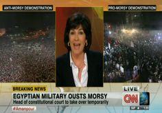 Amanpour en el especial sobre Egipto en CNN / Anti-Morsy & Pro-Morsy on the screen