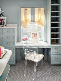 Carter | Gray Walker Interiors #interiordesign #homedecor #closet #closetdesign #dressingroom #blue