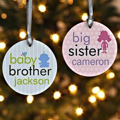 Big/Baby Brother & Sister Personalized Ornament