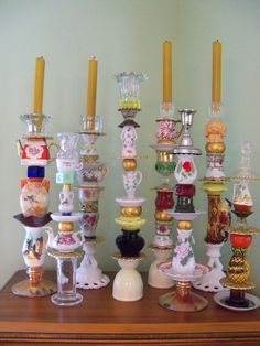 Trinket candle sticks from vintage finds.