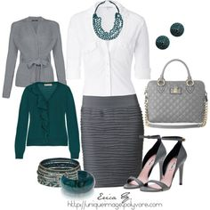 Gray & Turquoise, created by uniqueimage on Polyvore