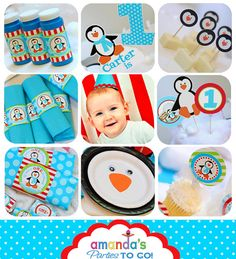 Penguin Party - Winter ONEderland Birthday - Winter Wonderland birthday Printable set by Amanda's Parties To Go
