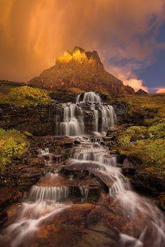 Dawn Waterfall- Clements Mountain, Glacier National Park, Montana
