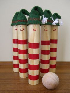 Elf bowling (made from cut up dowels)