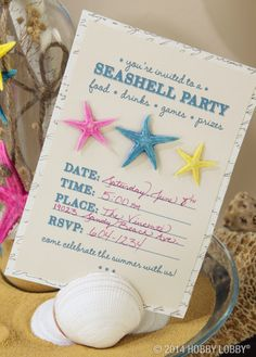 Sally might have sold seashells, but we threw a party instead! From the invites to the décor, we've got you covered! seashel parti, parti idea