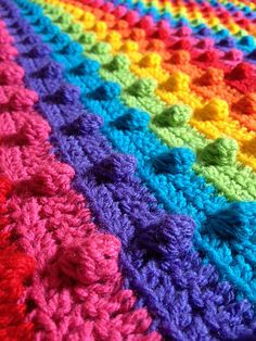 crochet bobble stitch rainbow blanket - great tutorial, well-written instructions, worked up very nicely.