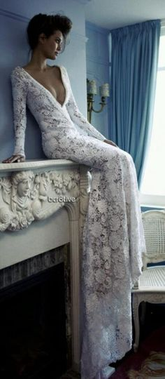 lace wedding gowns, wedding dressses, lace wedding dresses, blue walls, fireplace mantels, flower fashion, white lace, lace dresses, white gowns
