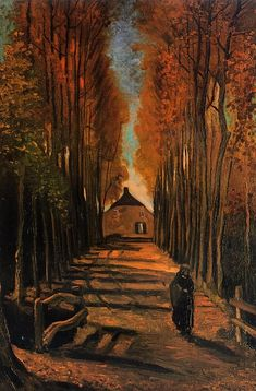 vangogh, vans, avenu, poplar, autumn, sunsets, art, paintings, vincent van gogh