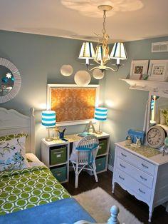 wall colors, diy desk, blue, room idea, bedroom design, kid rooms, girl bedrooms, small rooms, girl rooms