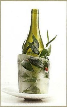 Use a milk carton to create a decorative ice block for wine or champagne chilling