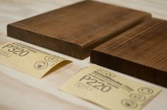 For even staining of wood, sand the end grain with finer sandpaper, e.g., side grain 220 grit, end grain 320 grit. Genius!